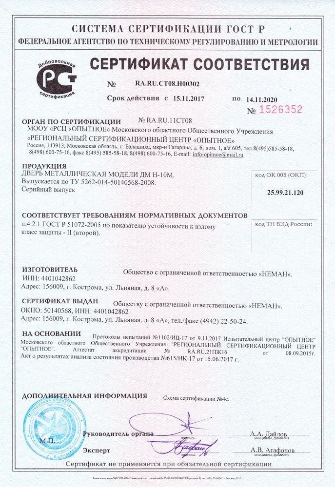 сертифицированные российские железные двери